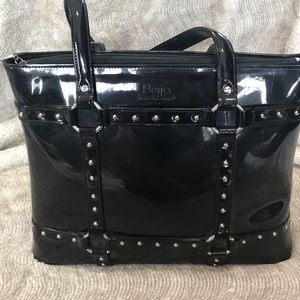 Beijo Patent Leather Bag Black Silver Rivets EUC
